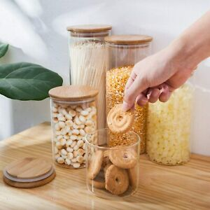 Glass Food Canister Jar With Natural Wooden Lid Silicone Ring, Stackable Jars