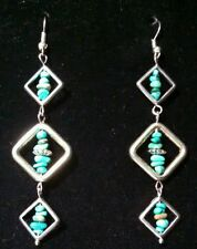 BEAUTIFUL LONG SILVER & REAL TURQUOISE earrings by Sandy of Scottsdale