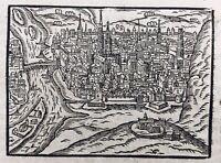 Rouen en 1658 Rarissime Gravure sur Bois ancienne Seine Maritime