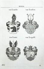 1836 4 Wappen von Lemcke Lentken Lentz Leopold Kupferstich Tyroff