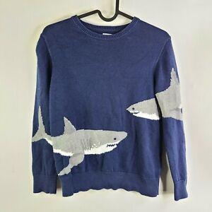 GAP Kids Blue Shark Print Crew neck Long Sleeve Pullover Cotton Sweater Size M