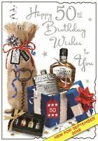 Jonny Javelin Male Happy 50th Birthday Card Whiskey Present Age 50/V574
