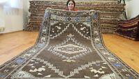 "Stunning Antique 1940-1950s Muted Natural Dyes, 3'7""×6'5""Wool Pile Ushak Rug"