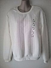 SIZE 12 - SIZE 14 / SIZE M WHITE LONG SLEEVE 'JAY JAYS' TOP  JUMPER SWEATER BNWT
