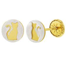 14k Yellow Gold Sweet Kitty Animal Cat Screw Back Earrings for Girls