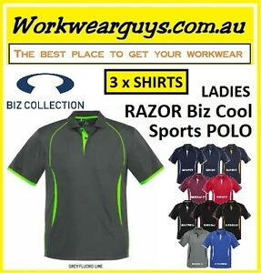 3 x Ladies Polo Shirts - RAZOR Fashion, Casual, Work, (BIZ COLLECTION) P405LS