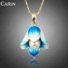 18K Gold Plated Necklaces for Women Blue Oil Painting Pearl Flower Chain Pendant