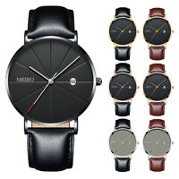 Men Ultra Thin Trendy Minimalist Watch Slim Leather Strap Stainless Steel Quartz