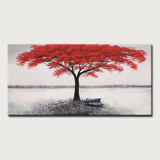 Mintura Handmade Oil Paintings On Canvas A Big Red Tree Home Decoration Wall Art