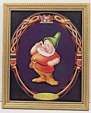 "Walt Disney Doc Snow White Seven Dwarfs Gold Frame Glass 11"" x 8"" Print"