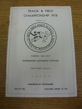 02/07/1978 Athletics Programme: West Midlands Schools Annual Track & Field Champ