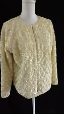 Vintage 60's Ivory Irredescent Sequin Evening Jacket Size 42 L Womens