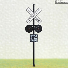 2 pcs O Scale Railroad Crossing Signals 2 heads LED made + Circuit board flasher