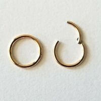20G 18G 16G 14G Rose Gold HINGED Segment Nose Ring Septum Clicker Daith Hoop
