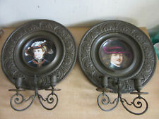 "Antique German porcelain portrait plates in fancy Brass 14"" , wall candle sconce"
