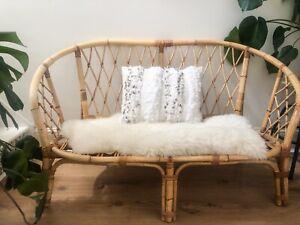 Vintage wicker Bamboo Cane sofa scandi boho Bohemian Tiki MCM