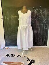 Vintage 90s White Cottage Core Indian Cotton Open Back Plus Size Dress Honors XL