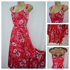NEW £45 PER UNA SUN DRESS FLORAL ROSE RED PINK BEADED FLARED DIPPED BOHO 8 - 22