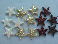 30 MIXED COLOUR GLITTER STARS - EDIBLE SUGAR CAKE DECORATIONS / TOPPERS