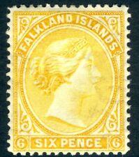FALKLANDS ISLANDS-1896 6d Yellow Sg 34  MOUNTED MINT V15911