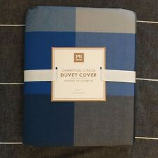 POTTERY BARN Teen Champion Check Duvet Cover only twin navy blue grey