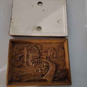 Vintage READY TO Hand Paint Ceramic 3D OLD MILL CREEK PLAQUE - Holland Mold