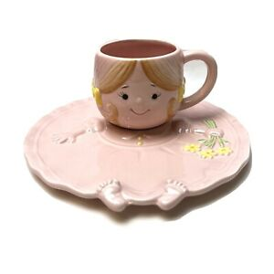 Enesco Childs Cup And Saucer Pink Vintage Girl Baby Gift Rare Special