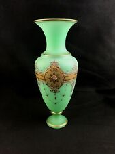 """🔷 Antique French or Bohemian Green Gilt Opaline Glass 9 7/8"""" Vase w/ Prunts"""