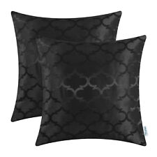 2Pcs Black Cushion Covers Pillows Shells Accent Geometric Home Sofa Decor 16x16""