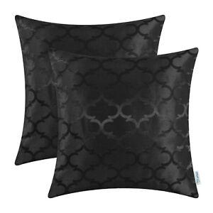 "2Pcs Black Cushion Covers Pillows Cases Accent Geometric Home Sofa Decor 20x20"""