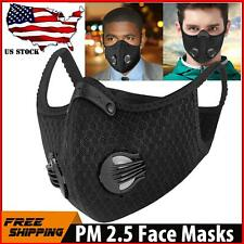 Face Mask With Active Carbon Filter Breathing Valves Black Reusable& Washable US