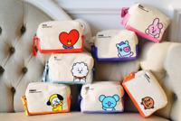 BTS BT21 Official Canvas Volume Pouch Cosmetic Makeup Bag KPOP Goods Authentic