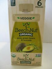 BEECH-NUT ORGANIC Peas,Green Beans & Avocado  6 POUCHES STAGE 2 BABY FOOD