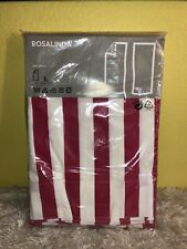 IKEA Rosalinda Curtains Rose Pink / White Striped Cotton Fabric 0202