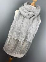 Grey Greige Beige Woolly Knitted Boho Tassel Scarf Ladies Tasselled Snuggly