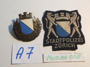 2 . Abzeichen Stadtpolizei Zürisch Schweiz  Sammlungsauflösung Polizei