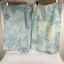 Set 2 VTG Springmaid Butterfly Floral Pillowcases Blue Wondercale Mariposa 50 50