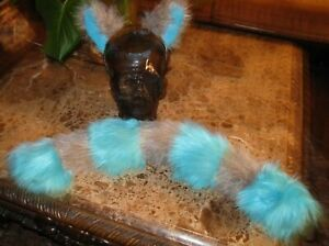 Tim Burton's Cheshire cat gray & blue shag fur ears tails or sets in 2 sizes