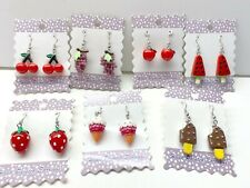 Fruit Earrings Wholesale Lot 6 Free Shipping Cherry Watermelon Chocolate Ice