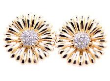 orecchini margherita fiore tono oro stordimento con cristallo
