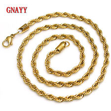 GNAYY Jewelry Gold stainless steel Twisted chain necklace Women Men 4mm 21.6''