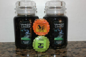 Yankee Candle Witches Brew LG 22 oz Classic Jar Candles x2~Patchouli~Halloween~
