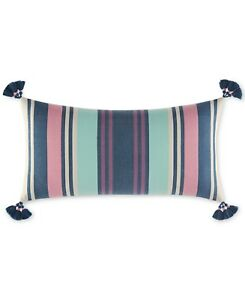 """Martha Stewart Whim Indie Stripe 14"""" x 28"""" Decorative Pillow $80 Bedding H1071"""