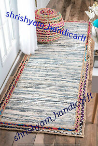 "2X8"" Feet Jute/Cotton/Denim Mix Handmade Indian Ethnic Floor Runner Decor Ethnic"