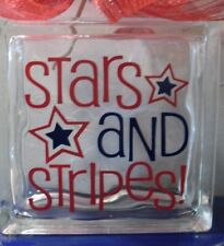 """Stars and Stripes Decal Sticker for 8"""" Glass Block DIY Crafts"""
