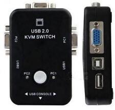 2fach KVM Switch Mini Umschalter USB VGA 2-Port kompakter (VGA, Tastatur, Maus,