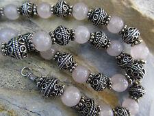 "Vintage Tribal Sterling Silver Rose Quartz Gemstone Bead Necklace 18"" 53.6 grams"