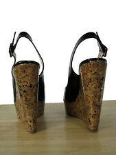 CHRISTIAN LOUBOUTIN Une Plume 140 Patent Wedge Sling Sandals 40.5 NIB