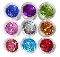 Holographic Chunky Nail Art Glitter Pot Manicure Face Body Craft 21 Colours 1368
