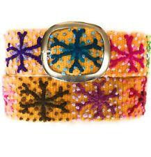 Women's embroidered Peruvian Yellow  wool belt. Sundance belt. Size Medium.